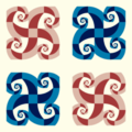 Free curly spiral check patterns