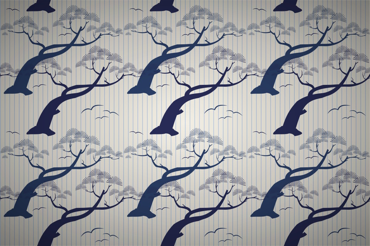 Free Japanese Pine Tree Stripe Wallpaper Patterns