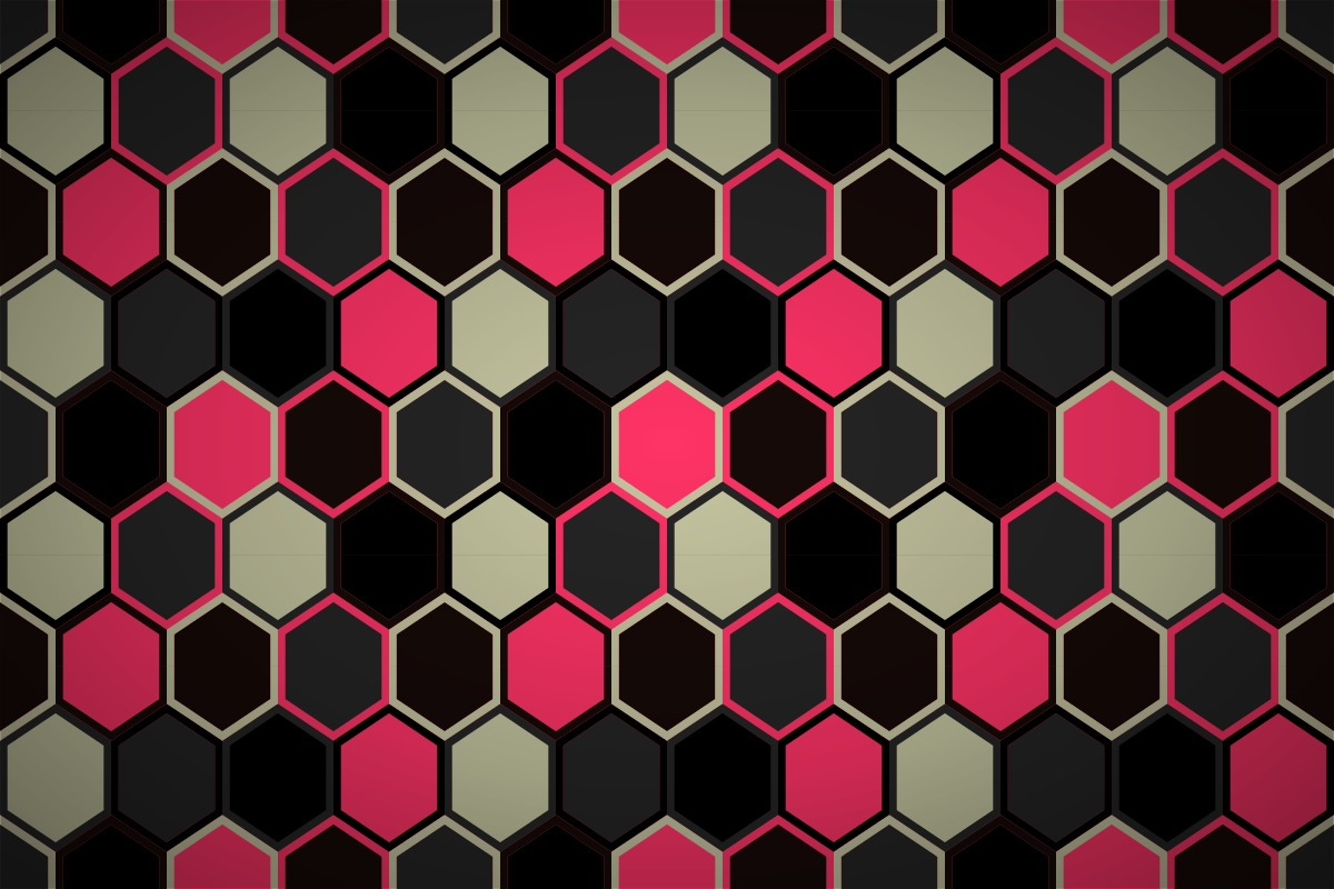 Random hexagon quilt on fan quilt template