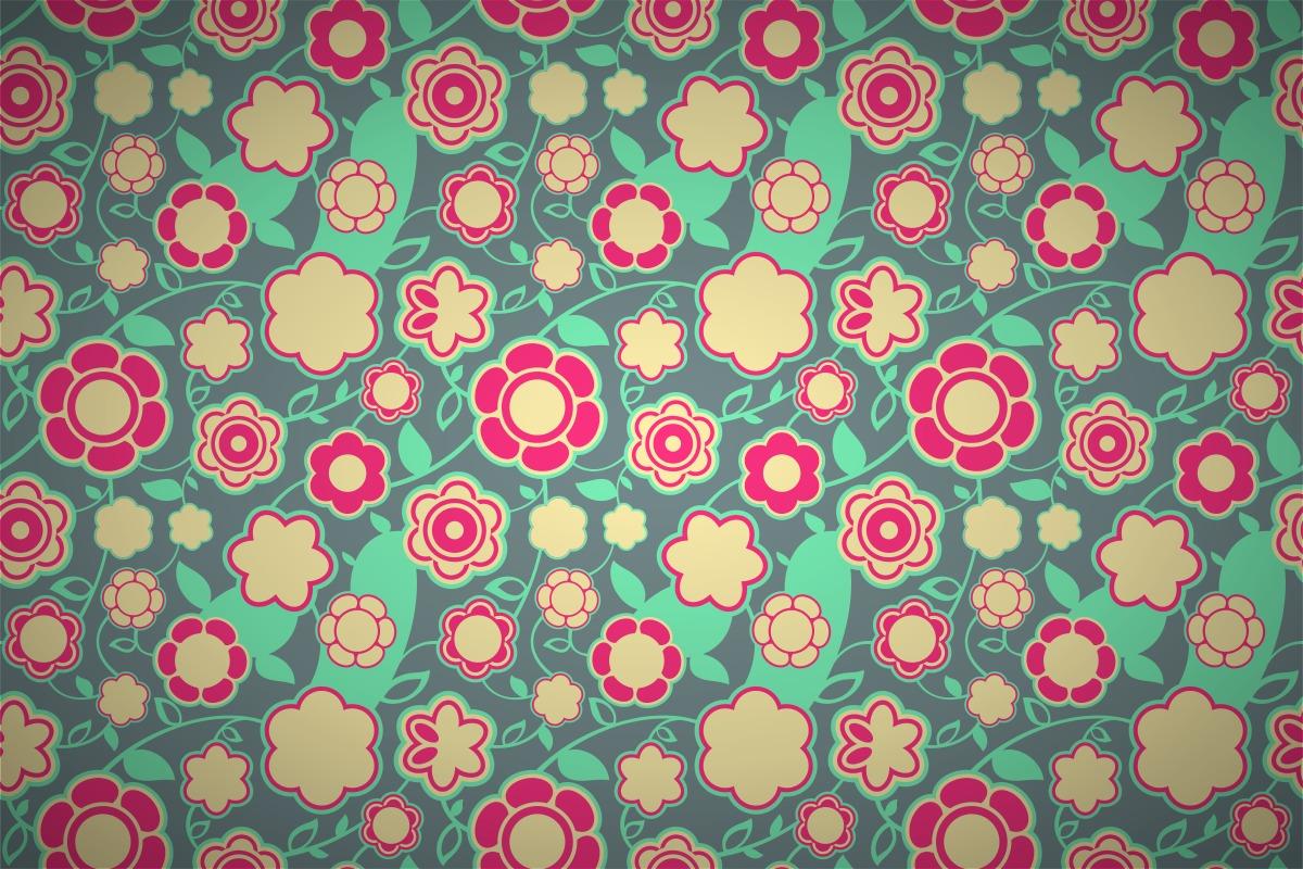 Free Retro Intense Floral Wallpaper Patterns